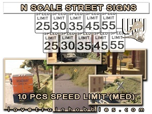 N Scale Signs Warning/Caution Pack 1.2