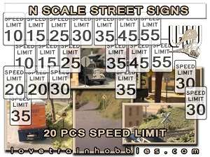 N Scale Signs Warning/Caution Pack 1