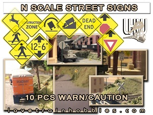 N Scale Signs Warning/Caution Pack 1.1